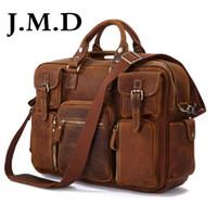 Wholesale orange laptop messengers online - J M D Hot Selling Genuine Leather Rare Crazy Horse Leather Men s Briefcase Laptop Bag Tote Bag Shoulder Messenger Bag