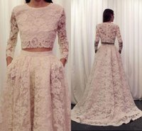 Wholesale Cheap Nude Formal Dresses - Hot Two Pieces Arabic Evening Dresses 2016 Long Sleeves Cheap Designer Lace Women Formal Occasion Wear Jewel Sweep Train Prom Party Gowns