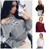 Wholesale Wholesale Fashion Bandage Clothing - 2016 Hot New Autumn Winter Fashion Sweatshirt Pullovers Chest Bandage Long Sleeve Fleece V Neck Casual Women's Clothing S-XL QP040 10pcs