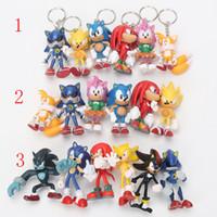 Wholesale Sonic Pvc - 6pcs set Sonic the hedgehog Boom Rare Shadow the Hedgehog Miles Prower Knuckles echidna pvc figure Keychain