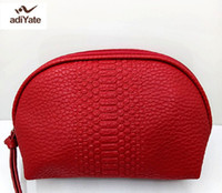 Wholesale Cute Cosmetic Packaging - Adiyate Famous Brand Cosmetic Case Cosmetics To Receive Package Make Up Bags Red Leather Cosmetic Bag Lovely Cute Handbags