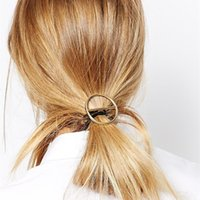 Wholesale Gold Hair Clip Ring - Hollow round rings hairbands for women girls gold plated metal hairwear new Fashion design pony tails holder hairbands hair Jewelry