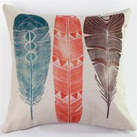 Wholesale Peacock Print Pillow Cases - Cotton Linen Cushion Covers Home Decorate Printing Pillowslip Colourful Peacock Feather Pillow Case For Many Styles 8ht C R