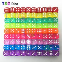 Wholesale Green Board Games - Wholesale- Colorful 14mm 10pcs set Acrylic Transaprent d6 Dice,6 sided gambling red blue green yellow purple Dice for Drinking Board Game