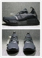 Wholesale Size 45 Mens Shoes - Wholesale Cheap New NMD R1 Primeknit Triple Black White Japan BZ0220 BZ0221 Nmds PK Mens Running Shoes for men sneakers Womens Size 36-45