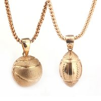 Wholesale Buck Pendants - Charm Necklaces Bucks chain gold Basketball Rugby Alloy Plated Pendant Necklace Sports Pendant Hip Hop Jewelry with Dedicated opp package