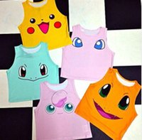 Wholesale T Shirt Kid Design - Poke Pattern Vest NEW 10 design woman kids Camis Pikachu Jeni turtle Charmander Squirtle Print tank tops Colorful sleeveless T-shirts B001