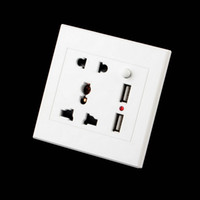 double plaque murale usb achat en gros de-1pc Double USB Chargeur mural électrique Dock Station Socket Power Outlet Panel Plate