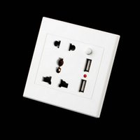 Wholesale Electric Charger Power - 1pc Dual USB Electric Wall Charger Dock Station Socket Power Outlet Panel Plate