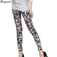 Wholesale Stretch Silk Wholesale - Wholesale-Sagace High Elastic Silk Milk Thin Sport Women Autumn Pants Skinny Trousers Fashion Letters Printed Stretch Nine Leggings Aug11