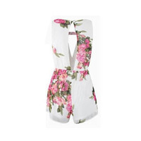 Wholesale Chiffon Short Cute Jumpsuits - 2017 New Women Open-Back Chiffon Jumpsuit Floral Romper Women's Summer Playsuits Cute Female Overalls Clothing