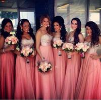vestidos de gasa para mujeres al por mayor-Vestidos largos de dama de honor de gasa cariño Rhinestone superior Sin espalda Vestidos de noche Vestidos de fiesta para mujeres Vestidos de fiesta