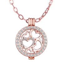 Wholesale Mi Necklace - Mi Moneda Coin Holder with Crystal Stainless Steel Frame Pendant Locket heart Luxury Necklaces coin include coin+locket pendant+chain