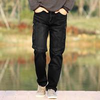 Wholesale Mens Cargo Denim Pants - Wholesale-Fashion Mens Elastic Denim Cargo Pants Men Patchwork Multi Pockets Zipper Closure Jeans Loose Casual Denim Trousers For Men