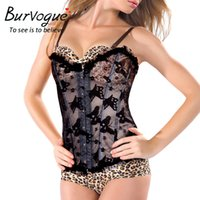 Wholesale Lace Up Corset Shapewear - Burvouge New Summer Women Breathable See Through Bustier Waist Corset Lace Up Overbust Slimming Corselet Body Shaper Shapewear