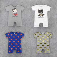 ingrosso vestiti del bambino della ragazza di batman-RMY18 NEW 4 Design infantile Kids Batman Stampa Cotton Cool Pagliaccetto bambino Climb abbigliamento bambino ragazza Pagliaccetto Pagliaccetto estivo