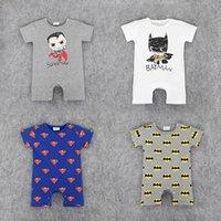bebek batman kıyafetleri toptan satış-RMY18 YENI 4 Tasarım bebek Çocuk Batman Baskı Pamuk Serin Romper bebek Tırmanmaya giyim erkek kız Romper Yaz Romper