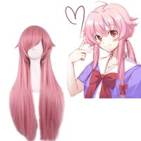 Wholesale Cosplay Hair Pink - New Movie Future Diary Mirai Nikki Gasai Yuno Cosplay Women's Wig wigs Long Smoke Pink Straight Hair for Halloween Party
