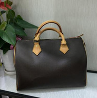 Wholesale Satin Tote Bags Purse - classic Top quality lady genuine oxidizing Leather speedy 25 30 35 handbag with shoulder strap purse tote bag
