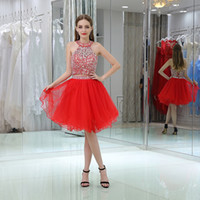 Red Tulle Sequins Beaded Short Homecoming Dresses Два Pieces Halter Luxury Sexy Sweet 16 Коктейльные платья