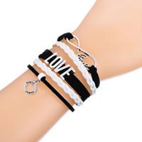 Wholesale Braid Pendant Bracelets Fashion - Fashion Multilayer Braided Woven Bracelet With Infinity Love FAMILY & BIG SIS Bangle Pendant Pink and White Adjustable Leather Bracelets