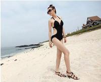 Wholesale White Fringe Swimsuit Top - Newest Sexy Women's Fringe Monokini Swimwear Fringe Deep V neck Chest Opening Halter Top One-piece Swimsuit Bathing Suit Beachwear 70se