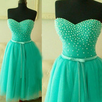 Wholesale Turquoise Sweetheart Neckline - Adorable 2016 Turquoise Prom Dresses A Line Sweetheart Neckline Pearls Top Tulle Short Formal Dressess with Sash Bow Graduation Party Gowns