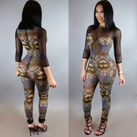 Wholesale Tribal Tattoos Sleeves - Wholesale- Women Party Long Playsuit Sexy Tribal Tattoo Print Mesh See Through One Piece Bodysuit 3 4 Sleeve Plus Size Jumpsuit S-XL