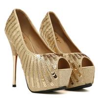 talons de poisson d'or achat en gros de-2018 talons hauts or paillettes talons hauts poisson bouche chaussures imperméable à l'eau plate-forme talons hauts chaussures sexy girl