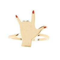 Wholesale Hand Ring Set - Wholesale- New Fashion accessories jewelry rock hand Gesture finger ring set Valentine's Day gift for women 1lot=2pieces R1331