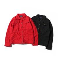 бесплатная готическая одежда оптовых-Оптовая бесплатная доставка Мужчины Разорвал Джинсовые Джинсовые Куртки Готические Печатные мыть Проблемные Красный Черный Одежда