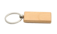 Wholesale Keychains Character - Blank Wooden Key Chain Rectangle Key ring personalized keychain Can be engraved logo 2.25''*1.25'' 25Pcs  Lot KW01C Free Ship
