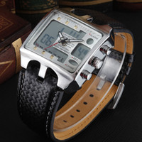 Wholesale Hour Hand Men - Ohsen brand digital Man Mens Dress Watches wristwatches mens boys leather band fashion white waterproof hand wathes hours