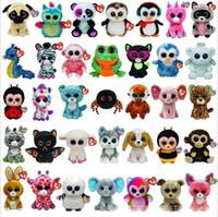 ingrosso grandi giocattoli animali-35 Design Ty Beanie Boos Peluche Peluche 15cm Grandi occhi all'ingrosso Animali Bambole morbide per bambini Regali di compleanno giocattoli ty B001