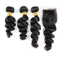 Wholesale Malaysian Wavy Virgin Hair 4pcs - Loose Wavy Malaysian Hair Extensions With 4*4 Top Closure Free Parting 3Pcs Virgin Hair With Lace Closure Malaysian Loose Wave 4Pcs Lot