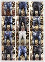 Wholesale Leisure Long Pants - 2017 Fashion Brand Stripe Button DSQ Men Jeans Men New Frayed Men Straight Slim D2 Denim Pants Biker Leisure Washed Pants Jeans