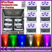 Wholesale battery par - (6 pcs +1 fly case  lot) 6pcs*18w RGBWAUV Colorful Bright led wedding battery wireless dmx led up lighting wireless dmx led par