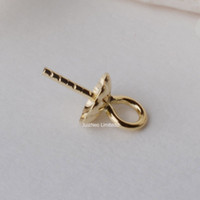 Wholesale 18k Earring Findings - 18K Gold Pendant Connector Bead Cap Eyepin and Closed Jump Ring, Yellow Karat Solid 18ct oro Dangle Earring and Pendant Finding