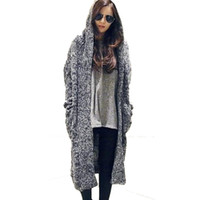 Wholesale Winter Hooded Sweaters For Women - Women coats mix knitted Cardigan women's fall winter women's fashion long thick slim hooded sweater coat winter coats for women WKS0021