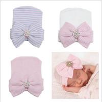 Wholesale Infant Cotton Boy Bonnets - 2016 newborn baby beanie hats boy girls knit big bows caps toddler hat infant cotton crochet cap kids hair accessories bonnets wholesale