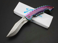 cuchillos de colores al por mayor-ACERO FRÍO Spartan Dogleg Cuchillo Plegable Stonewashed Aluminio Mango Sirena Colorido Táctico Que Acampa Senderismo Supervivencia Pocket EDC Colección