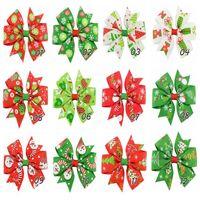 Wholesale xmas ribbon wholesale - 3 inch Baby Bow Hair Clips Christmas Grosgrain Ribbon Bows WITH Clip Snow Baby Girl Pinwheel Hairpins Xmas Hair Pin Accessories