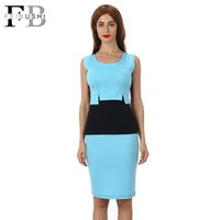Wholesale Red Color Block Bodycon Dress - 2016 Hot Sales Color Block Patchwork Dress Women Cotton O-Neck Tank Sleeveless New Fashion Knee-Lenght Bodycon Patchwork Dress