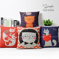 Wholesale Cool Free Images - Cartoon Cats Cute Image Collection Kids Household Massager Decorative Pillow Case Cover Pillows Warm Home Decor Vintage Gift Free Shipping
