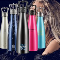 Wholesale Crown Mugs - 500ML ALL-JOINT AMATHING Crown Insulation Cup Vacuum Cup Stainless Steel Wine Bottle Mug Kettle 5 Color WX-C01