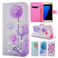 Wholesale Diamond Leather Flip Phone Cover - For Galaxy S7 Edge S7Edge Luxury Diamond Flower Dandelion Flip Wallet Leather TPU Phone Case Cover with Card Slot for Samsung G9350 G9300