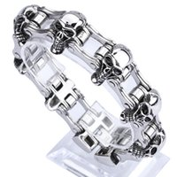 "Wholesale Bike Steel Jewelry - 23mm European fashion mens stainless steel biker jewelry heavy bike chain bracelets 8.46"" Good Gift"