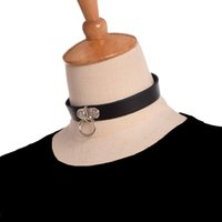 Vintage Mulheres Punk Black Leather Choker Gothic Cadeia Buckle O Ring Collar Unisex Rocha Colar Nova