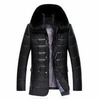 Wholesale woven trim - Wholesale- Winter Jacket Men Parka 2016 White Duck Down Jacket Men Thick Casual Coat Pure Fox Fur Collar Warm Down Jacket Plus Size