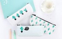 Wholesale Office Wallets - creative cactus Pencil Case Purse canvas Portable Pen Money Wallet stripe zipper Pouch Pocket Keyring Gift Kawaii pencil Bag Stationery Good